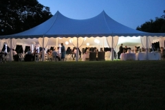 40x60 pole tent with drapes and white lit paper lanterns